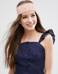 Asos Limited Edition Wide Faux Pearl Headband Pink