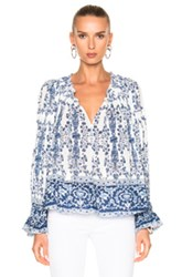 Sea Ines Long Sleeve Smocked Top In Blue Floral White Blue Floral White