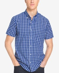 Izod Men's Big And Tall Grid Non Iron Short Sleeve Shirt Mazarine Blue