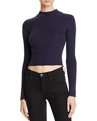 Astr Nellie Mock Neck Ribbed Sweater Navy