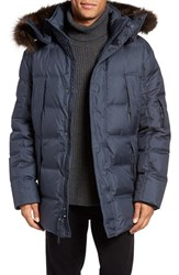 Andrew Marc New York Men's Altitude Quilted Down Jacket With Genuine Fox Fur Trim Hood Ink