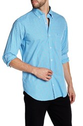 Tailorbyrd Turquoise Long Sleeve Checkered Woven Shirt Blue