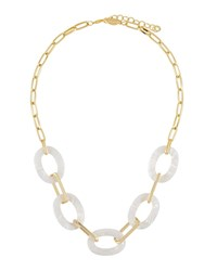 A.V. Max Short Pearly Lucite Link Necklace White