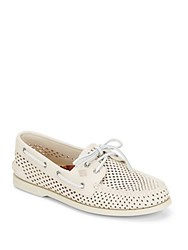 Sperry A O Perforated Leather Boat Shoes Ivory