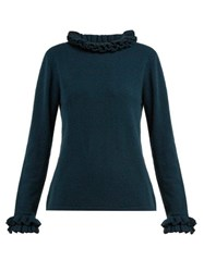 Goat Gail Ruffled Cashmere Sweater Mid Blue