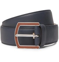 Loro Piana 3.5Cm Navy Full Grain Leather Belt Blue