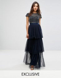 Maya Cape Sleeve Tiered Maxi Dress In Tonal Delicate Sequin With Bow Back Navy