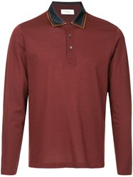 Cerruti 1881 Satin Collar Polo Shirt Red