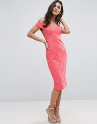 Asos Lace Bardot Sweetheart Midi Dress Coral Pink