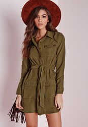 Missguided Faux Suede Double Pocket Shirt Dress Khaki Beige