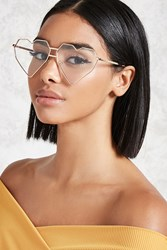 Forever 21 Digital Heart Shaped Readers Gold Clear