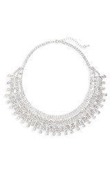 Nina Women's Crystal Drama Collar Necklace Silver