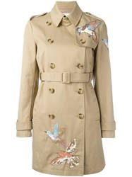 Red Valentino Bird Embroidery Trench Coat Nude Neutrals