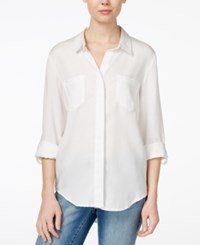 Velvet Heart Riley Roll Tab Sleeve Button Down Shirt Opt White