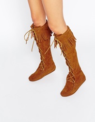 Minnetonka Brown Suede Front Lace Knee High Boots Brownsuede