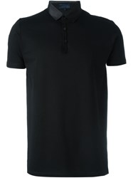 Lanvin Satin Collar Polo Shirt Black