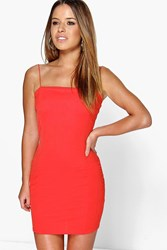 Boohoo Tia Crepe Square Neck Bodycon Dress Orange