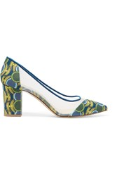 Bionda Castana Juliet Printed Canvas And Mesh Pumps Green