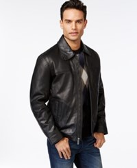Perry Ellis Open Bottom Leather Jacket With Printed Lining Black