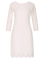 Izabel London Lace Embossed Shift Dress White