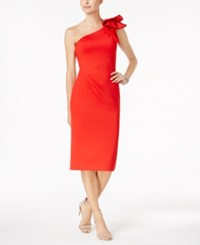 Betsy And Adam Ruffled One Shoulder Dress Red