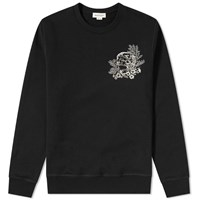 Alexander Mcqueen Skull Ivy Embroidered Crew Sweat Black