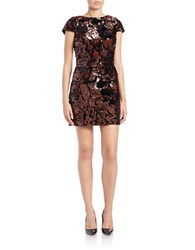 Vince Camuto Sequin Short Sleeve Dress Bronze
