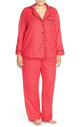 Plus Size Women's Betsey Johnson Print Flannel Pajamas Hearts And Spades Red Hot
