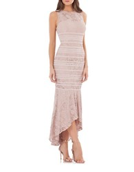 Js Collections Hi Lo Lace Gown Blush