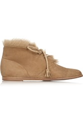 Pedro Garcia Yurena Goat Hair Trimmed Suede Ankle Boots