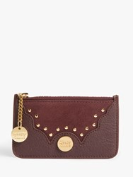 See By Chloe Studded Zip Leather Suede Card Holder Red