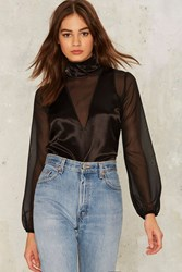 After Party By Nasty Gal Part Time Lover Satin Blouse Black