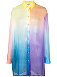 Fausto Puglisi Sheer Constructed Oversized Shirt Blue
