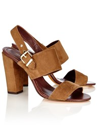 Vanessa Bruno Cacao Suede Slingback Sandals Brown