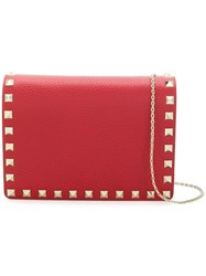 Valentino Rockstud Wallet On Chain Red