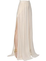 Elie Saab Flared Georgette And Lurex Wide Leg Pants