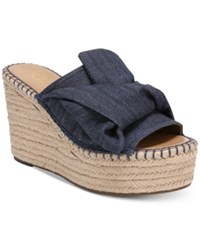 Franco Sarto Talinda 2 Platform Espadrille Wedge Sandals Women's Shoes Denim