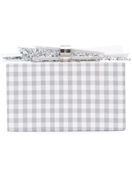 Edie Parker Plaid Box Clutch Women Cotton Acrylic One Size Grey