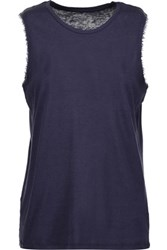 Majestic Frayed Wool Trimmed Cotton And Cashmere Blend Tank Midnight Blue