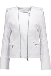 Balmain Pierre Quilted Cotton Jersey Biker Jacket White