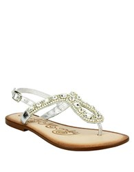 Naughty Monkey Rock On Embellished Leather Thong Sandals Silver