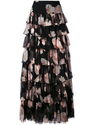 Redemption Floral Print Tiered Maxi Skirt Women Silk 40 Black