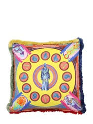 Versace Vittoria Printed Silk Pillow Multicolor