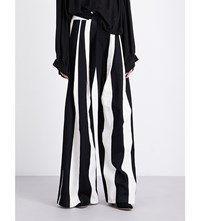 Ann Demeulemeester Mercator Wide Leg Cotton And Linen Blend Trousers Black Off White