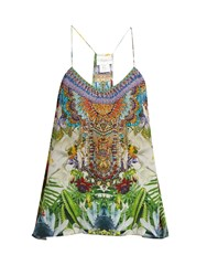 Camilla Exotic Hypnotic Print Silk Cami Top Green Multi