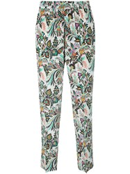 Etro Printed Cropped Trousers White
