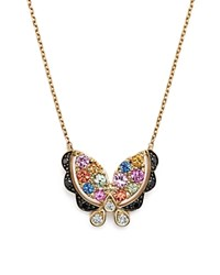 Bloomingdale's Multi Sapphire Butterfly Pendant Necklace With Black And White Diamonds In 14K Yellow Gold 16 100 Exclusive Multi Yellow