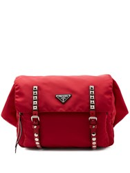 Prada New Vela Leather Trimmed Belt Bag Red Multi