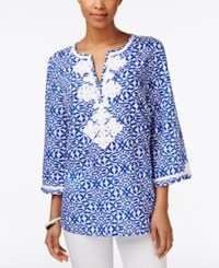 Charter Club Petite Printed Embroidered Tunic Only At Macy's Blazing Blue Combo