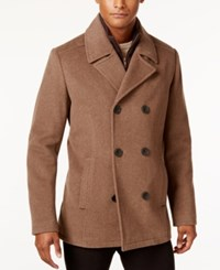Kenneth Cole Men's Robert Pea Coat With Rib Knit Bib Chestnut